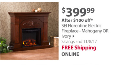 SEI Florentine Electric Fireplace - Mahogany