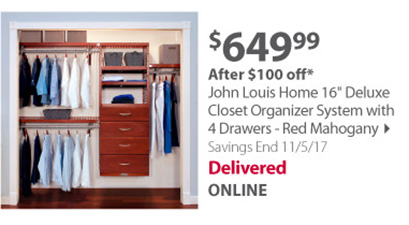 John Louis Home 16 Deluxe Closet Organizer System with 4 Drawers