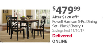 Powell Harrison 5-Pc. Dining Set - Black/Cherry