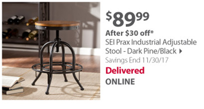 SEI Prax Industrial Adjustable Stool - Dark Pine/Black