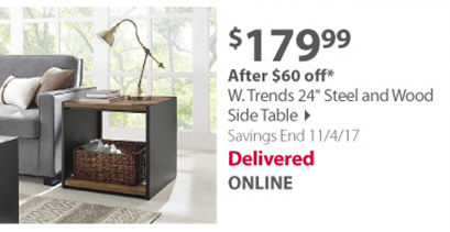 W. Trends 24 Steel and Wood Side Table