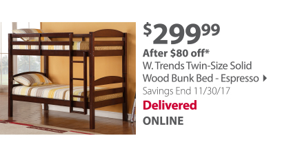 W. Trends Twin-Size Solid Wood Mission Bunk Bed