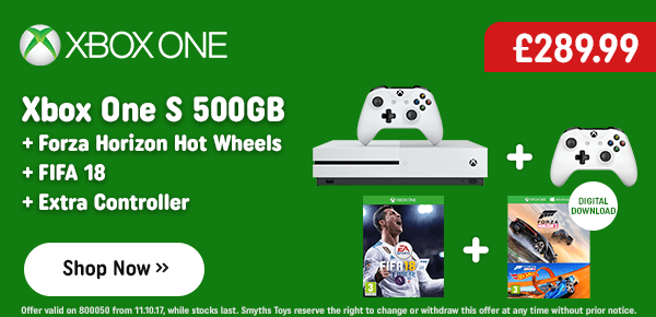 Xbox One S 500GB Forza Horizon Hot Wheels Bundle with Extra Controller & FIFA 18