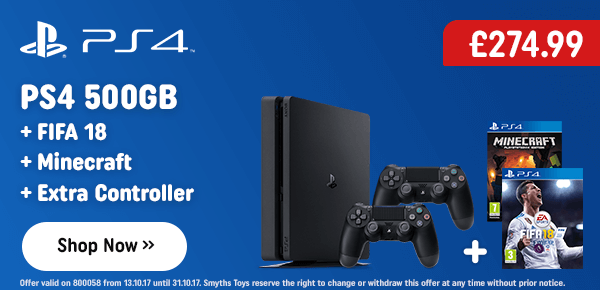 PS4 500GB Fifa 18 Console Pack with Extra Controller & Minecraft