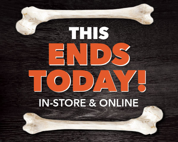 THIS ENDS TODAY. In-store and Online. 20 percent off Your Total Purchase.