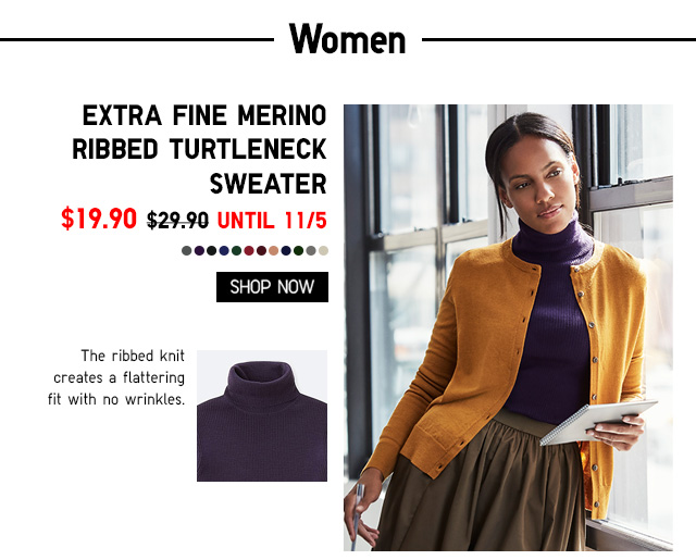 Women Extra Fine Merino Ribbed Turtleneck Sweater $19.90 - Shop Now
