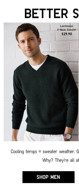 BETTER SWEATERS - Men Lambswool V-Neck Sweater $19.90 - Shop Men