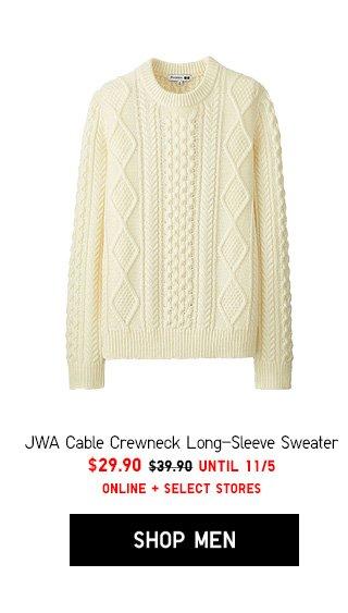 JWA Cable Crewneck Long-Sleeve Sweater $29.90 - Shop Men