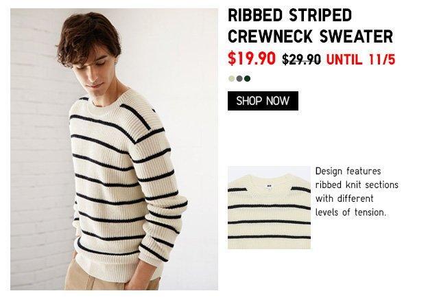 Men Ribbed Striped Crewneck Sweater $19.90 - Shop Now