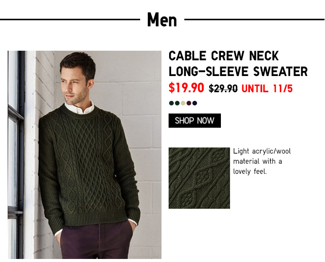 Men Cable Crew Neck Long-Sleeve Sweater $19.90 - Shop Now