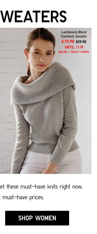 BETTER SWEATERS - Women Lambswool Blend Cowlneck Sweater $19.90 - Shop Women