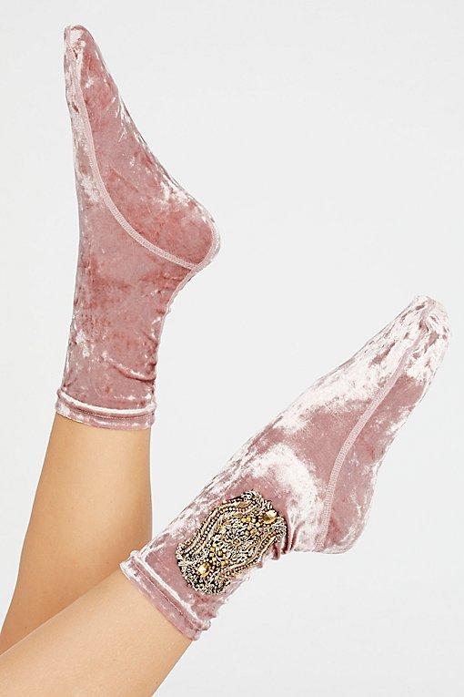 Kisses Embellished Velvet Sock