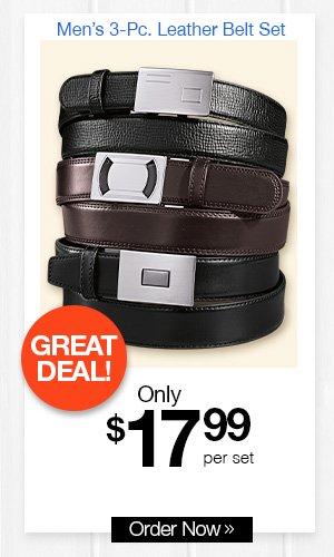 Men's 3-Pc. Leather Belt Set