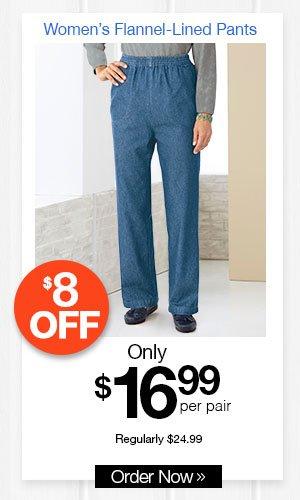 Women's Flannel-Lined Pants