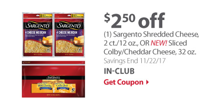 (1) Sargento Shredded Cheese