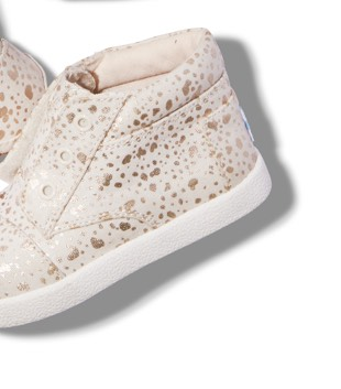 Gold Foil Snow Spots Tiny TOMS Paseo High Sneakers