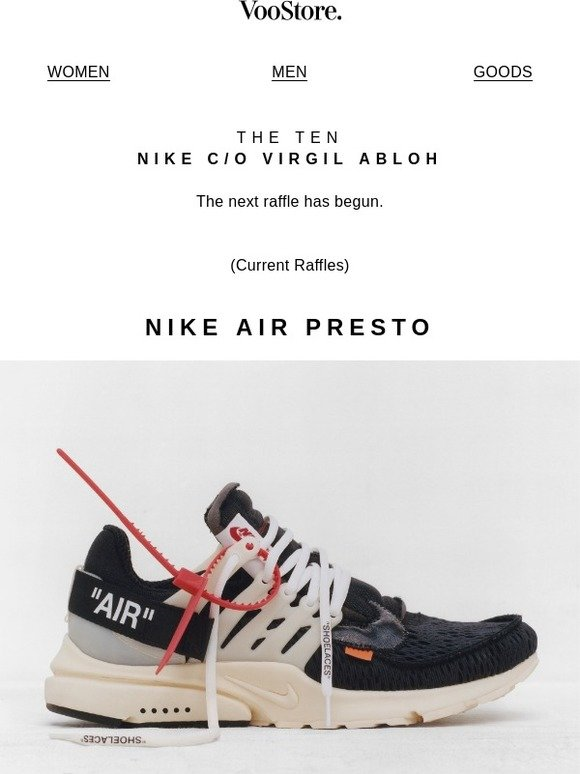 VooStore: ''THE TEN'' Raffle: AIR PRESTO and AIR MAX 90, NIKE c/o Virgil  Abloh | Milled