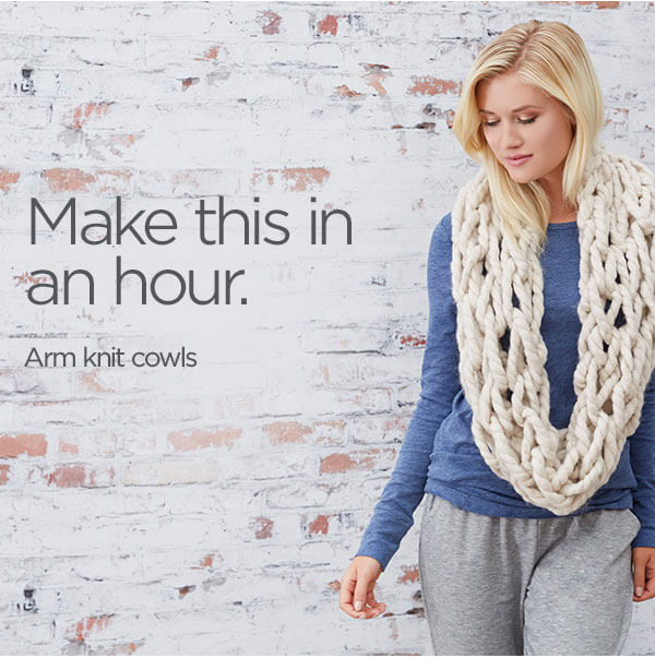 Make this in an hour! Arm Knit Cowls.