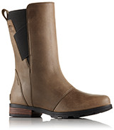 A profile view of mid-length Chelsea boots.