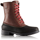 A profile view of lace-up ankle boots.