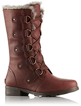 A profile view of lace-up boots.