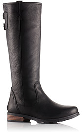 A profile view of tall boots.