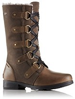 A profile view of mid-length boots.