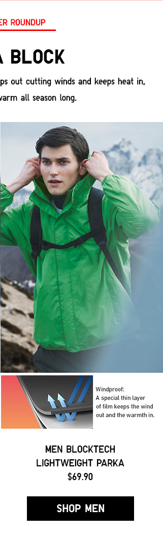 THE OCTOBER ROUNDUP - WHAT A BLOCK - Men Blocktech Lightweight Parka $69.90 - Shop Men