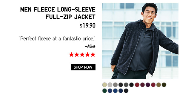 Men Fleece Long-Sleeve Full-Zip Jacket $19.90 - Shop Now