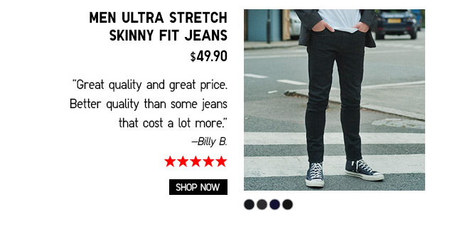 Men Ultra Stretch Skinny Fit Jeans $29.90 - Shop Now