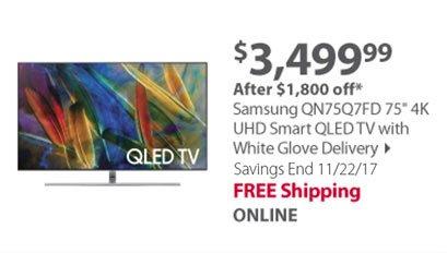 Samsung QN75Q7FD 75 4K UHD Smart QLED TV