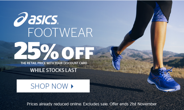 25% off Asics Footwear