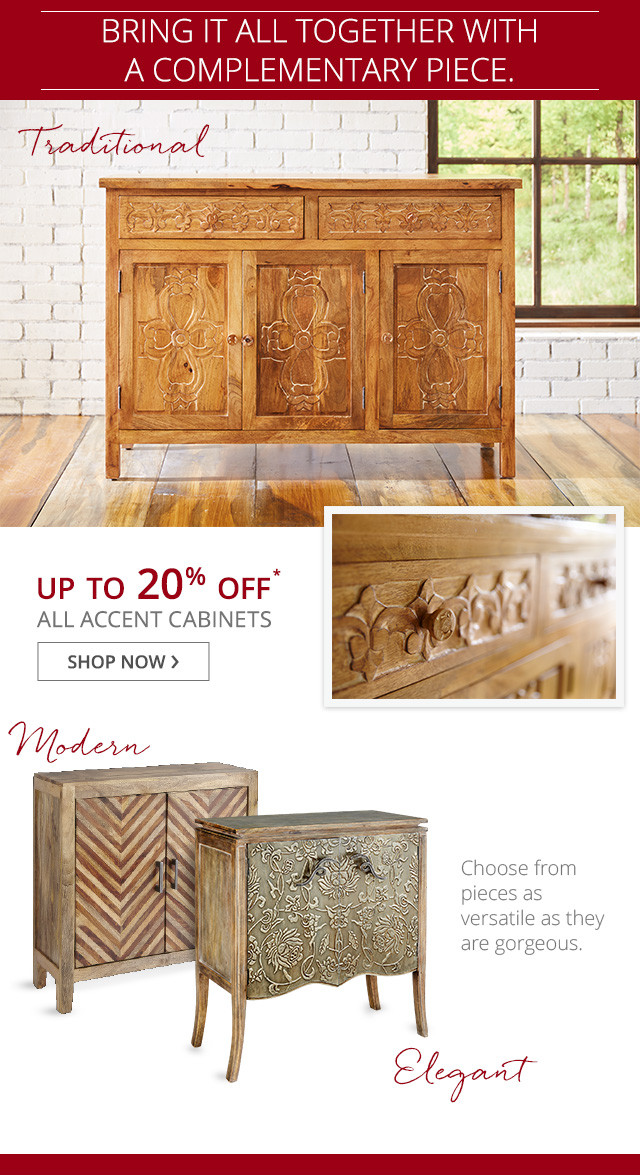 Up to 20% off all accent tables.