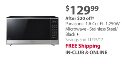 Panasonic 1.6-Cu.-Ft. 1,250W Microwave