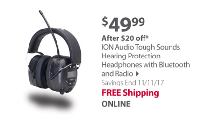 ION Audio Tough Sounds Hearing Protection Headphones