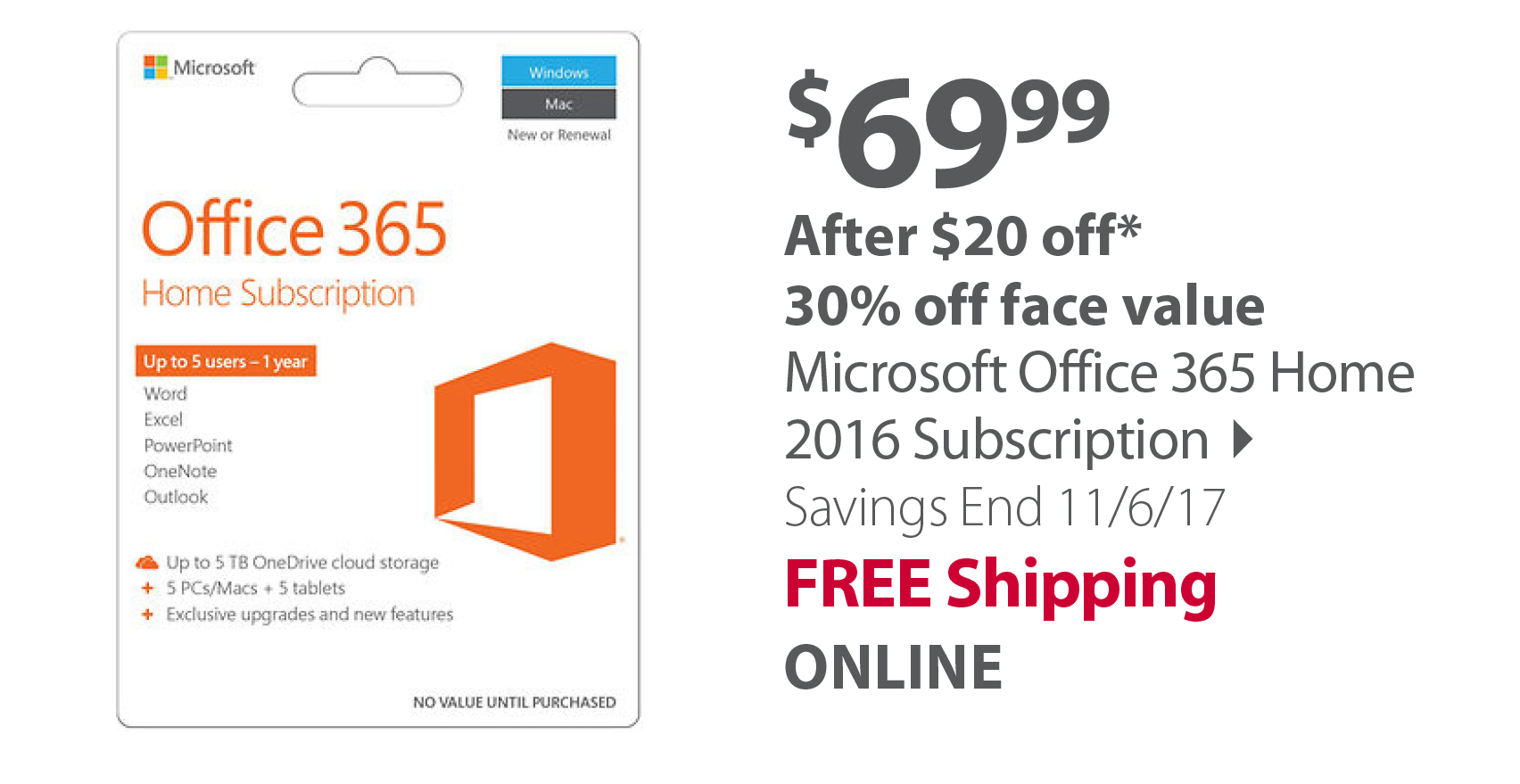 Microsoft Office 365 Home 2016 Subscription