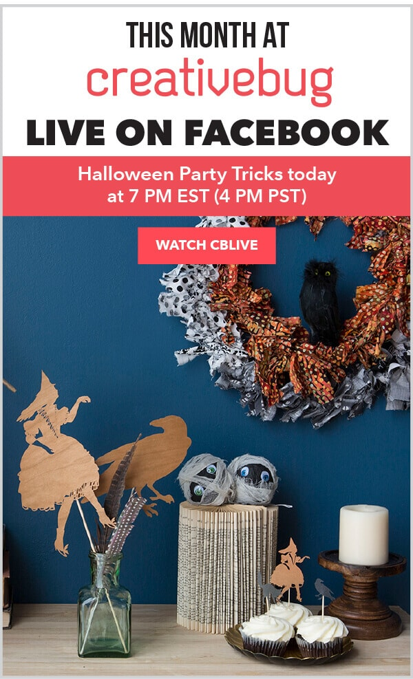 CreativeBug FB Live Event Today-Halloween Party Tricks.