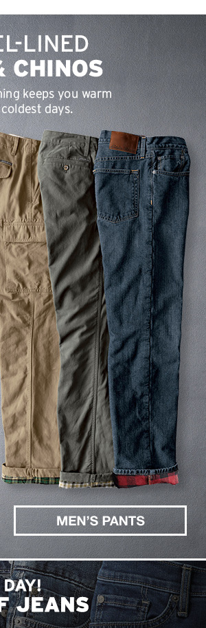 FLANNEL-LINED JEANS & CHINOS | MEN'S PANTS