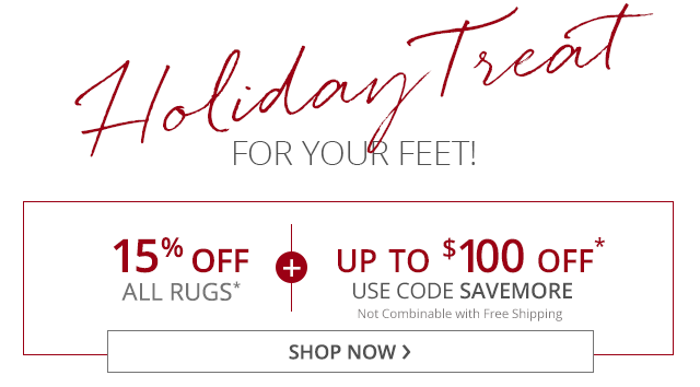 15% Off all rugs. PLUS up to $100 off. Use code SAVEMORE.