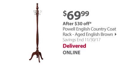 Powell English Country Coat Rack - Aged English Brown