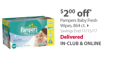 Pampers Baby Fresh Wipes, 864 ct.