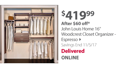John Louis Home 16' Woodcrest Closet Organizer - Espresso