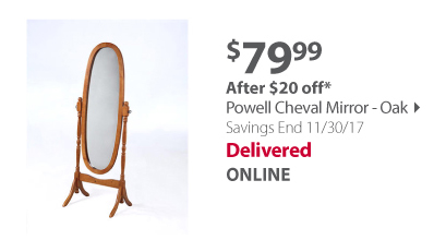 Powell Cheval Mirror - Oak