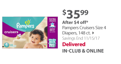 Pampers Cruisers Size 4 Diapers, 148 ct.