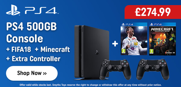 PS4 500GB Console & FIFA 18 Bundle with Minecraft & Extra Controller