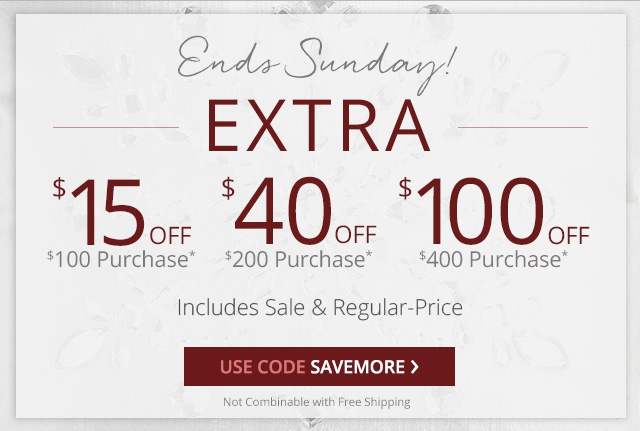 Up to an extra $100 off. Includes sale & regular-price. Use code SAVEMORE.