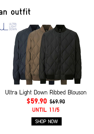 Men Ultra Light Down Ribbed Blouson $59.90 - Shop Now