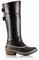 A profile view of knee-high duck boot.