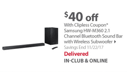 Samsung HW-M360 2.1 Channel Bluetooth Sound Bar with Wireless Subwoofer