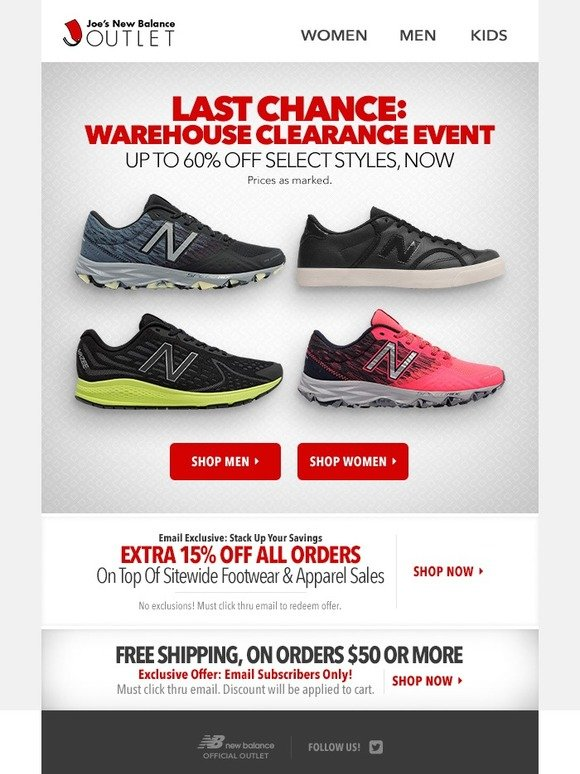 Joe\u0027s New Balance Outlet: LAST CALL l Clearance Event + Extra 15% Off  (Email Exclusive) | Milled